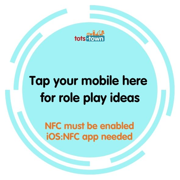 A sticker design where Tots Town customers tap their mobiles to get children's role play ideas